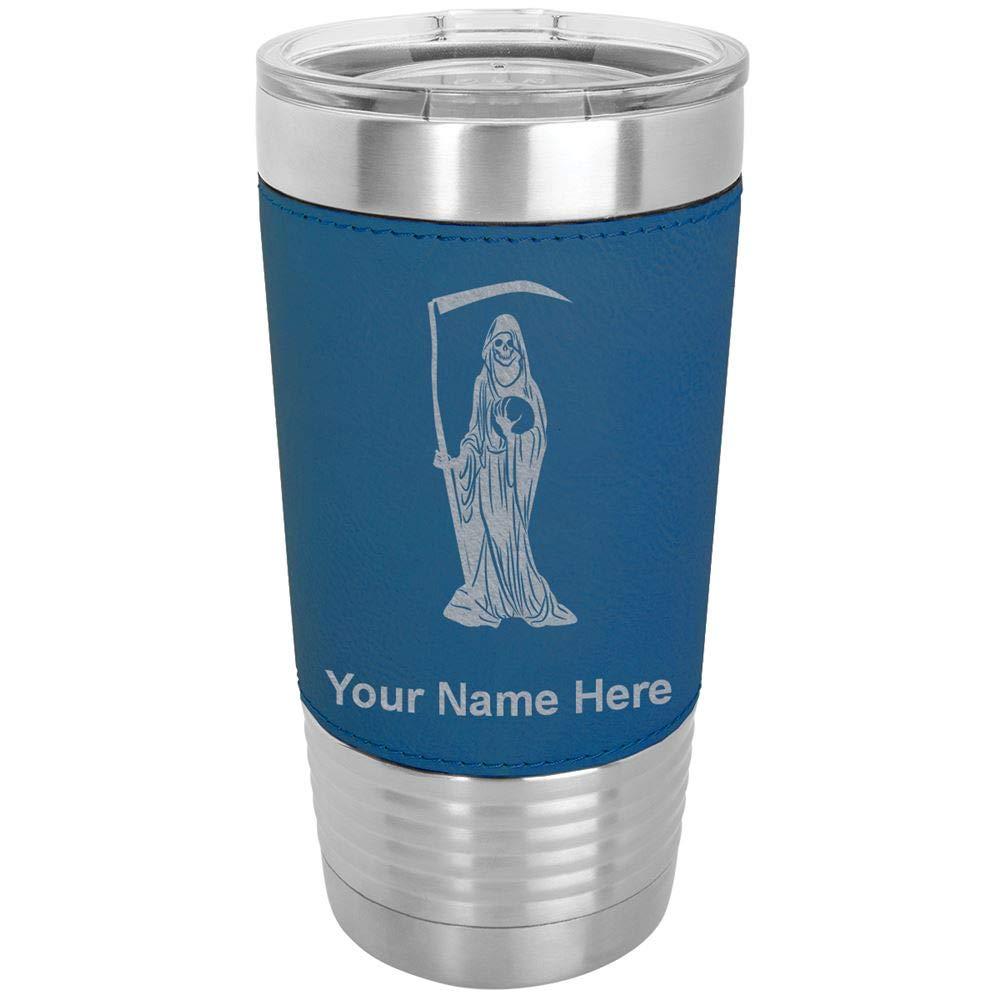20oz Vacuum Insulated Tumbler Mug, Santa Muerte, Personalized Engraving Included (Faux Leather, Blue)