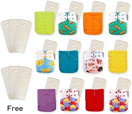 KaWaii Baby Super Value Pack 12 Reusable Cloth Diapers + 12 One Size Premium Bamboo Inserts + 6 Free Premium Bamboo Inserts for Baby boy and Girl Newborn to Toddler Super Comfortable and Soft