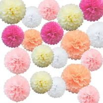 iShyan 15pcs Mix Tissue Hanging Paper Pom-poms, Flower Ball Wedding Birthday Party Outdoor Decoration Premium Tissue Paper Pom Pom Flowers Craft Kit(Pink Shade)