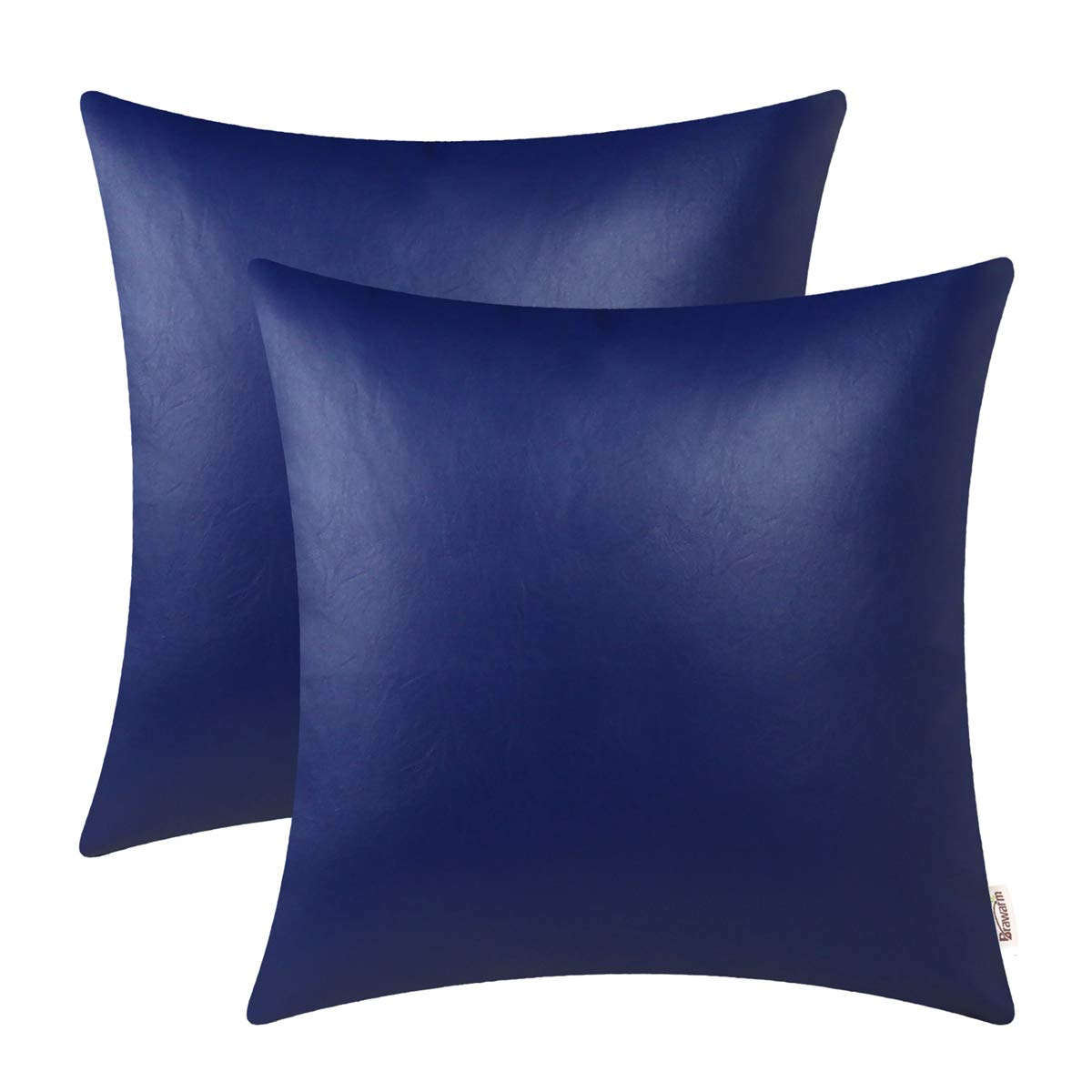 BRAWARM Pack of 2 Cozy Throw Pillow Covers Cases for Couch Sofa Home Decoration Solid Dyed Soft Faux Leather Both Sides 24 X 24 Inches Royal Blue