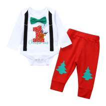 Newborn Baby Boys Christmas Outfit My 1st Christmas Printing Romper with Red Pants Gentleman Clothes Sets