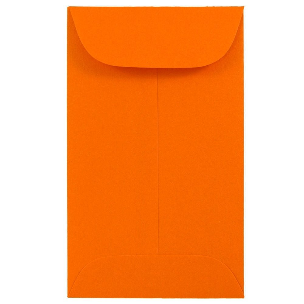 JAM PAPER #3 Coin Business Colored Envelopes - 2 1/2 x 4 1/4 - Orange Recycled - 50/Pack