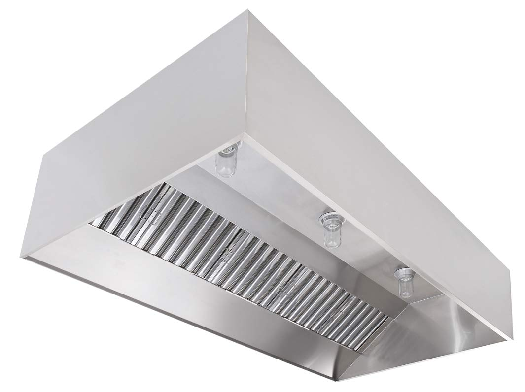 """Commercial Kitchen Restaurant Duty Exhaust Hood, Wall Canopy Stainless Steel Exhaust Hood with Baffle Hood Filters, High Temperature Light Fixtures, and 14"""" Round Exhaust Riser (9' Long Hood)"""