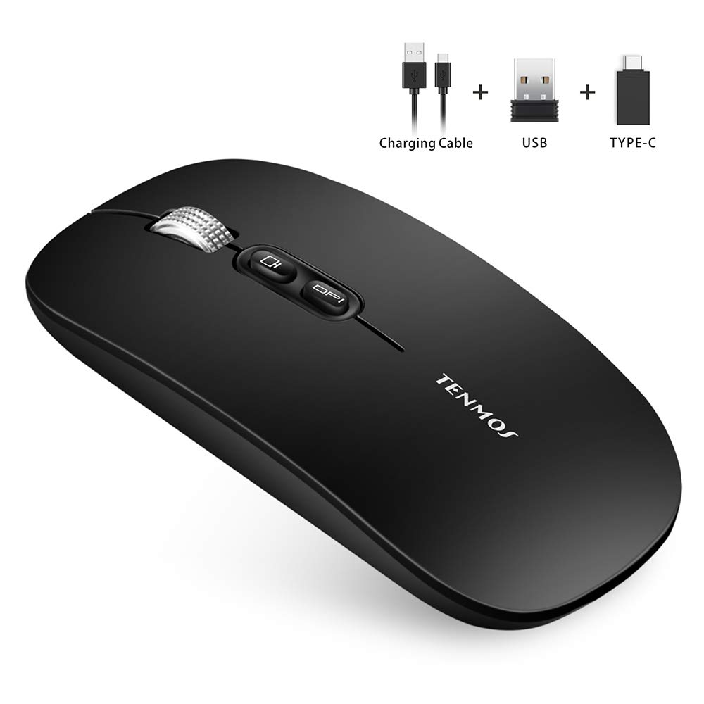 TENMOS T8 Silent Wireless Mouse, Ultra Slim Rechargeable Optical Wireless Computer Mice with USB Receiver Type C Adapter, Home Button, Portable Travel Mouse for Laptop, PC, Notebook (Matte Black)