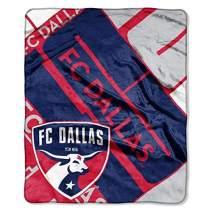 "Officially Licensed MLS FC Dallas ""Scramble"" Plush Raschel Throw Blanket, Navy, 50"" x 60"""