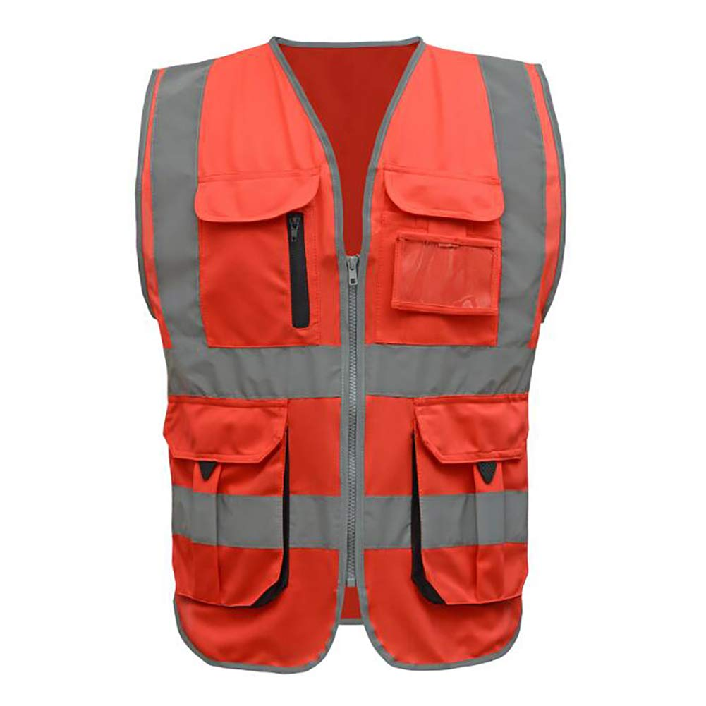 GOGO 9 Pockets High Visibility Zipper Front Safety Vest With Reflective Strips, Meets ANSI Standards-Red1-XXL