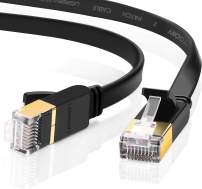UGREEN Cat 7 Ethernet Cable Shielded Gigabit Flat Cat7 RJ45 LAN Cable High Speed Internet Network Patch Cord 10Gbps for Gaming PS4, Xbox One, PS3, PC Laptop Modem Router, Computer, POE (50FT)