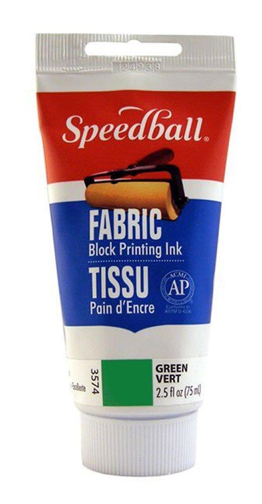 Speedball 003574 Fabric Block Printing Ink – Premium Fabric Block Printing Ink 2.5 FL OZ (75CC), Green