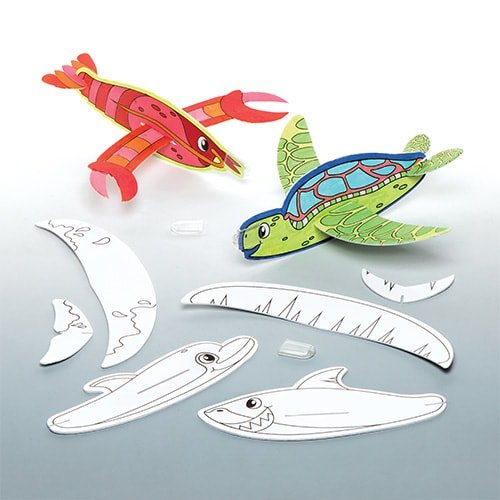 Baker Ross Make Your Own Sea Life Animal Flying Gliders, Arts and Crafts for Kids to Colour in, Party Bag Fillers, Games and Prizes (Pack of 8)