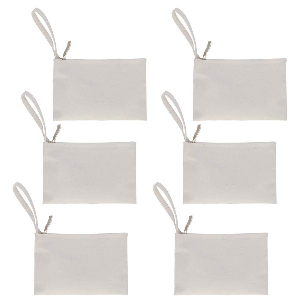 Aspire 6-Pack 100% Natural Cotton Canvas Makeup Bags, Wristlet Pouches 7 x 4 3/4 Inches