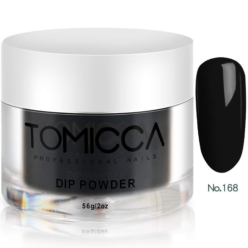TOMICCA Dip Powder Acrylic Powder Nail Polish 56g, 2oz Black (Black #168)