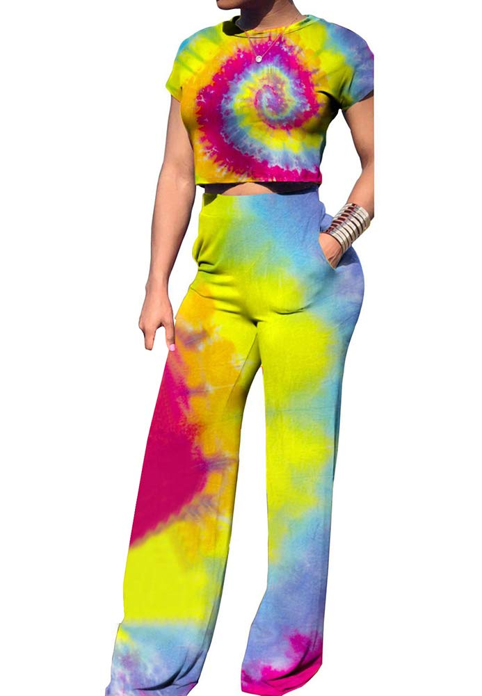 Women Tie Dyed Striped O-Neck Crop Tops High Waist Flare Long Pants Jumpers 2 Piece Outfits