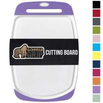Gorilla Grip Original Oversized Cutting Board, Large Size, 16 Inch x 11.2 Inch, BPA Free, Juice Grooves, Thick Board, Easy Grip Handle, Dishwasher Safe, Non Porous, Chef, Professional, Purple