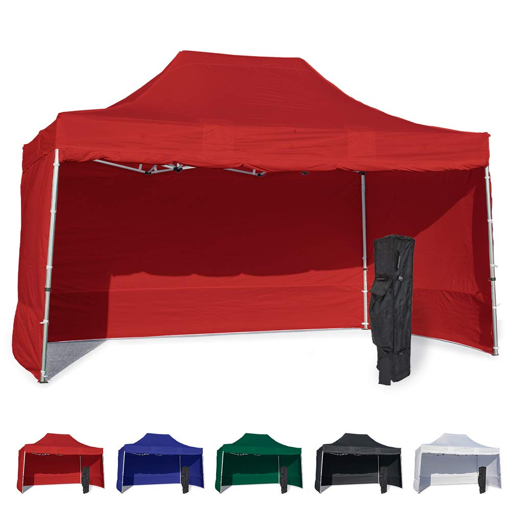 Vispronet 10x15 Instant Canopy Tent and 4 Side Walls – Commercial Grade Steel Frame with Water-Resistant Canopy Top and Sidewalls – Bonus Canopy Bag and Stake Kit Included (Red)