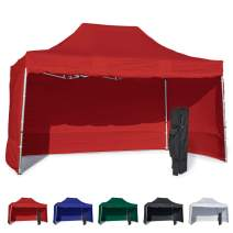 Vispronet 10x15 Instant Canopy Tent and 4 Side Walls – Commercial Grade Aluminum Frame with Water-Resistant Canopy Top and Sidewall – Bag and Stake Kit Included (Red)
