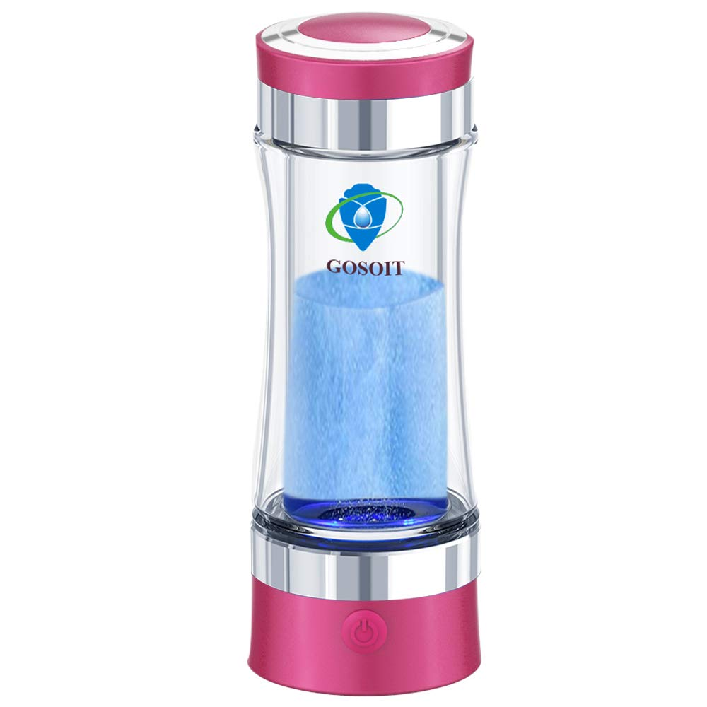 GOSOIT Hydrogen Alkaline Water Bottle Maker Machine Hydrogen Water Generator Ionizer with SPE and PEM Technology,US Membrane Make Hydrogen Content up to 800-1200 PPM and PH of 7.5-9.0 (purple)