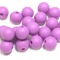 Silicone Beads for Teething | 9mm 100pc Jewelry Making Beads | Food Grade BPA Free Chewable Beads for Teethers, Nursing Necklaces, Bracelets (9mm, 06 Purple)