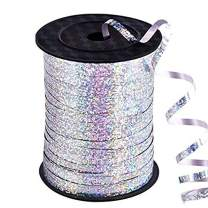 500 Yards Silver Crimped Curling Ribbon Shiny Metallic Balloon String Roll Gift Wrapping Ribbon for Party Festival Art Craft Decor Florist Flowers Decoration