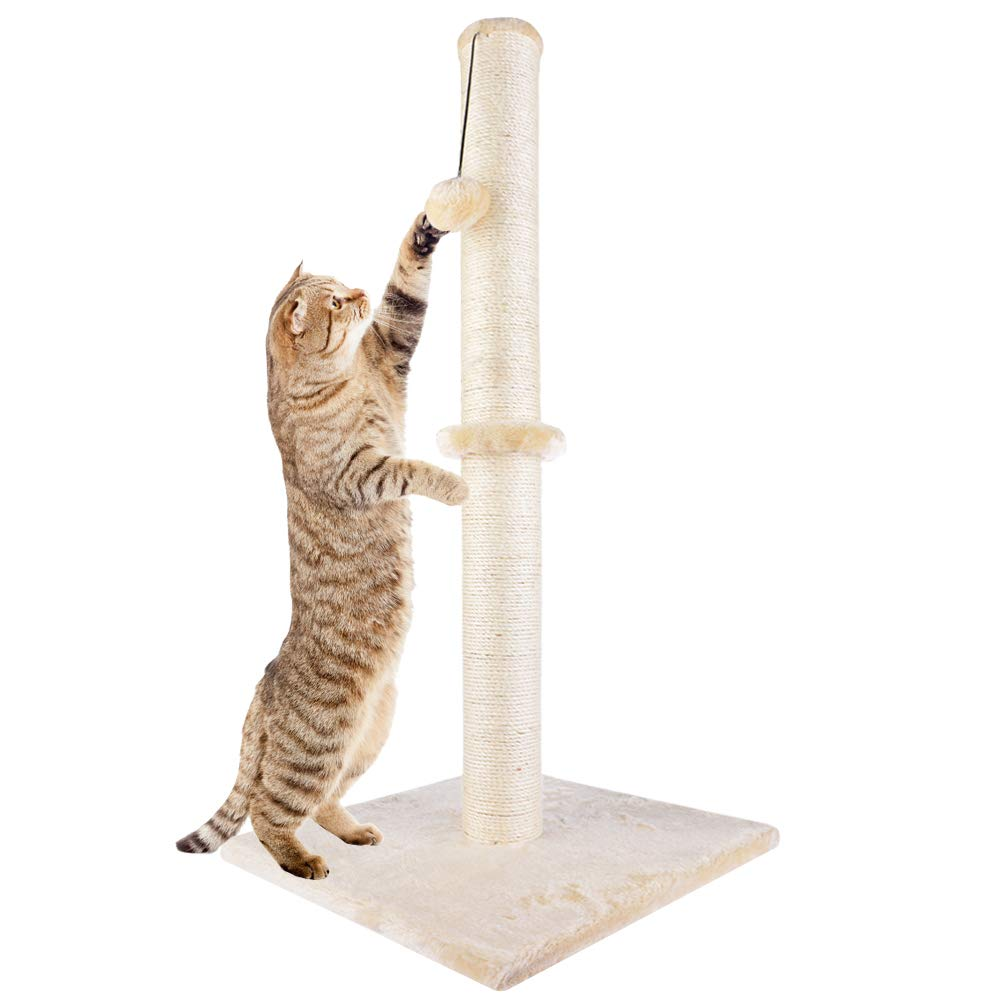 "Dimaka 29"" Tall Cat Scratching Post, Claw Scratcher with Sisal Rope and Covered with Soft Smooth Plush"