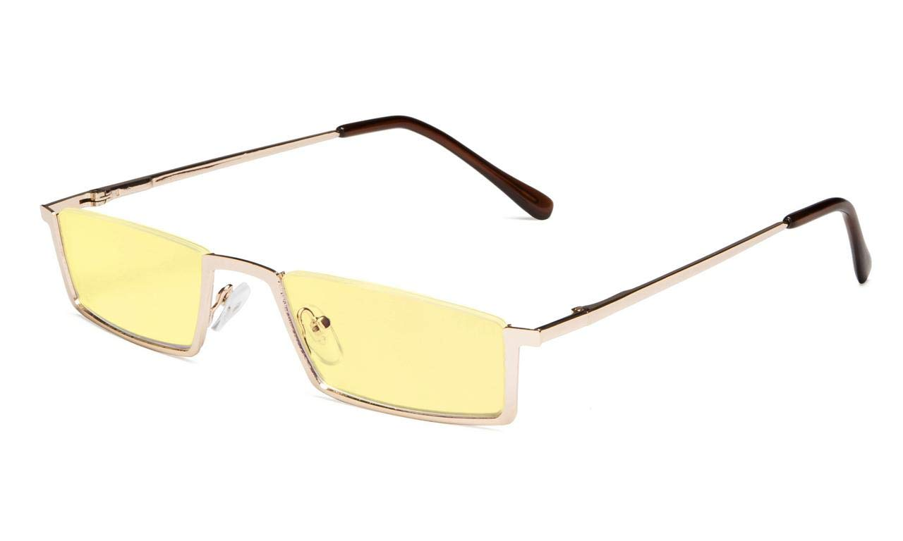 Eyekepper Blue Light Blocking Reading Glasses Half-Rim Computer Readers Eyeglasses-Yellow Tinted Lens Reading Glasses (Gold, 1.75)