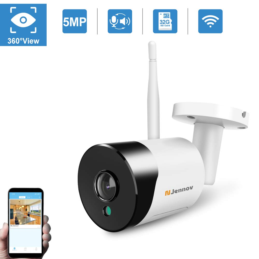 WiFi Panoramic Security Camera, Jennov Wireless 360 Degree Fisheye Home Surveillance IP Camera 5MP HD Outdoor Weatherproof & Indoor Baby Monitor with 2-Way Audio Night Vision for Kid Pet Elderly
