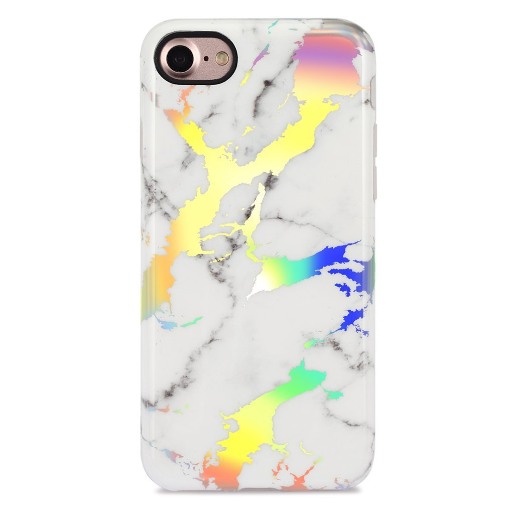 """GOLINK iPhone 7 Case/iPhone 8 Case for Girls, Glossy Laser Series Slim-Fit Ultra-Thin Anti-Scratch Shock Proof Dust Proof Sparkling Shiny TPU Case for iPhone 7/8 4.7"""" - Laser White Marble"""