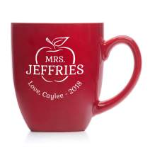 Engraved Personalized Teacher Coffee Mug (Red) - 16 oz Large Teacher Mug from Student, Personalized Teacher Gifts