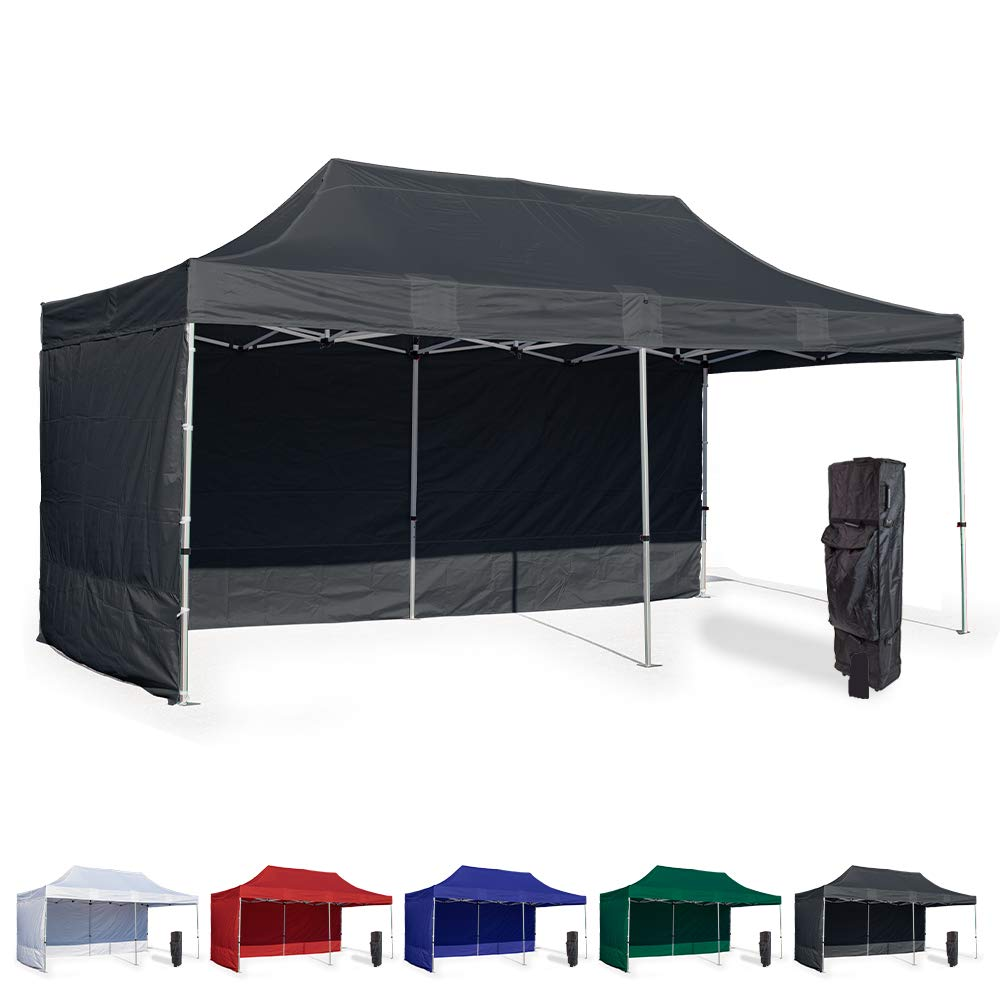Vispronet 10x20 Instant Canopy Tent and 2 Side Walls – Commercial Grade Steel Frame with Water-Resistant Canopy Top and Sidewalls – Bonus Canopy Bag and Stake Kit Included (Black)