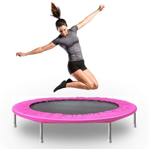 Foldable Trampoline for Kids Fitness Exercise Training with Safe Pad Cover,36 Inch Pink Mini Trampoline with Handrail Withstand up to 140 lbs for Outdoor/&Indoor Playing