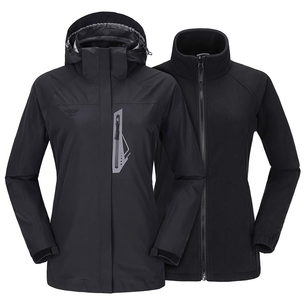 Womens Ski Jacket 3 in 1 Mountain Snow Waterproof Fleece Lined Windproof Detachable Hood Winter Coat outdoorgo