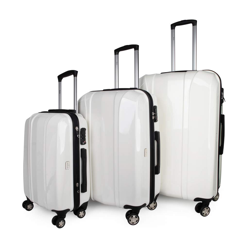 Luggage Sets Hard Shell with Spinner Wheels 3 Piece 20 Inch 24 Inch 28 Inch Water Repellent Zipper Hardside Lightweight PC + ABS Build-In TSA Lock White