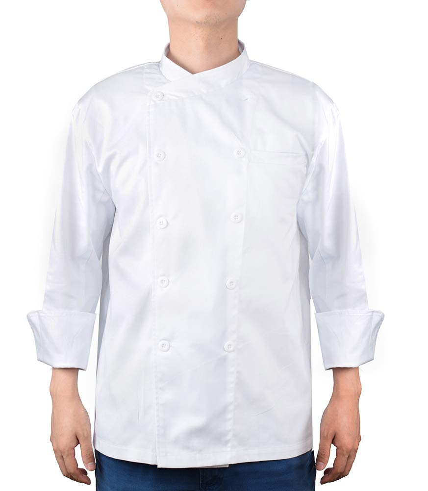 Nanxson Unisex Chef Jacket Kitchen Hotel Long Sleeve Cotton White Uniform Chef Working Coat with Air Mesh CFM0028