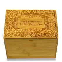 4x6in Recipe Box by Cookbook People Bamboo for Recipe Index Cards Personalized Engraved with Name (Paisley Bamboo)