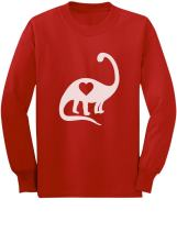 Dinosaur Love Heart Valentine's Day Outfit Cute Toddler Kids Long Sleeve T-Shirt