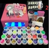 Lamp and 36 Colors Gel Nail Art Nail Tools Set Nail Polish Nail Gel Building Kit Set a Tool(Nail Set and lamp)