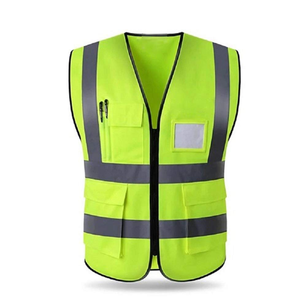 HYCOPROT High Visibility Reflective Safety Vest with Pockets and Zipper Front, Neon Yellow, Meets ANSI/ISEA Standards (XXL)