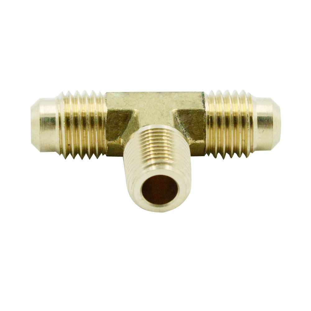 """Brass Forged Tube Fitting, SAE 45 Degree Flare Male Branch Tee, 5/16"""" SAE Male x 1/4"""" NPT Male Pipe Thread, Quick Connector & Adapter For Gas Air Water Tube, 2pcs"""