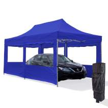 Vispronet Blue 10x20 Aluminum Carport Canopy Tent with 2 10x20 Window Walls, 1 10x10 Window Wall, Roller Bag, and Stake Kit