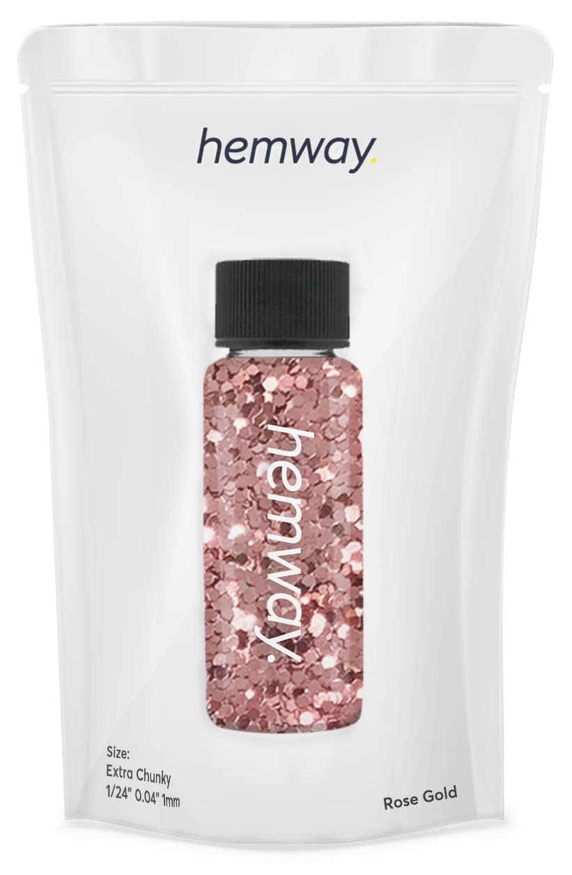 """Hemway Premium Extra Chunky 1/24"""" Sparkle Gel Nail Glitter Dust Art Powder Makeup Pigment Eyeshadow Face Body Eye Cosmetic Safe - 12.8g / 0.45oz (Rose Gold Holographic)"""