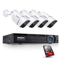 TMEZON 4K AHD Ultra HD Security Cameras System, 4 Channel H.265+ 4K (3840x2160) Video Dvr and 4 x 4K (8MP) Ip67 Bullet Weatherproof Surveillance Cameras, 100ft Night Vision, Motion Alert with 1TB HDD