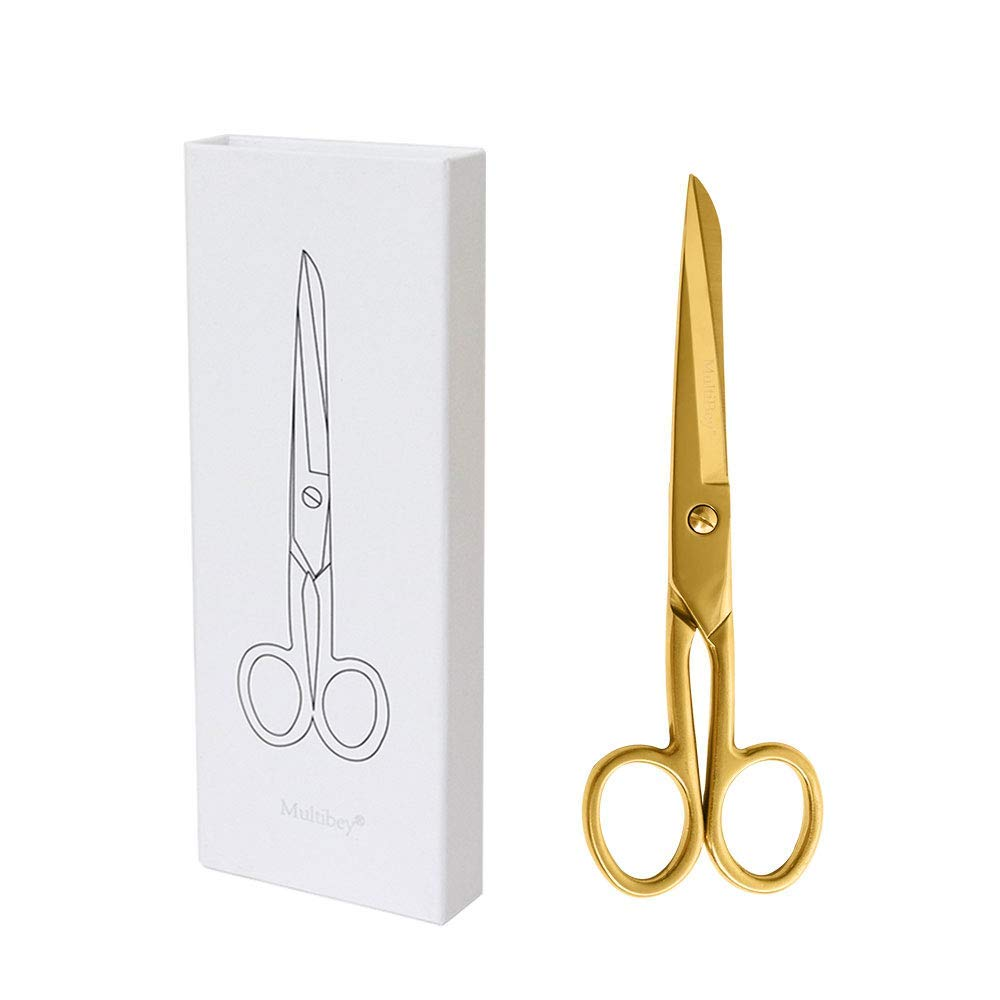 """MultiBey Gold Scissors 7"""" Tailor Fabric Paper Cutting Tools Craft Shears Heavy Duty Copper Straight Recycled Stainless Steel Cutter"""