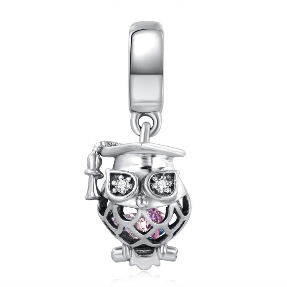 ASELFAD 925 Sterling Silver Graduation Owl Charm with Cap Graduation Charms for Bracelets 2020 Graduation Gifts for Her