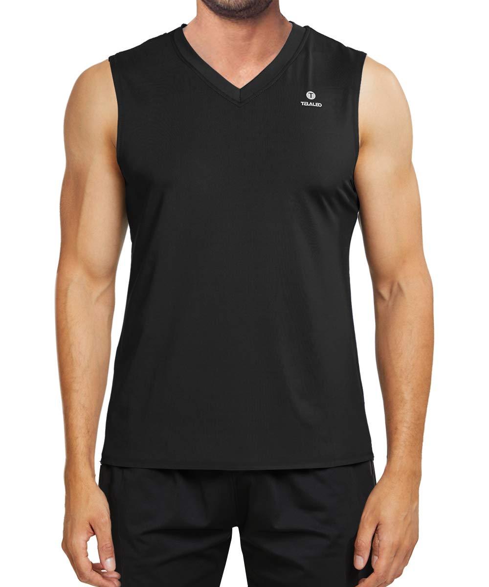 TELALEO Men's Performance Sleeveless Workout Tank Tops, Gym Muscle Bodybuilding Tank Vest Shirts