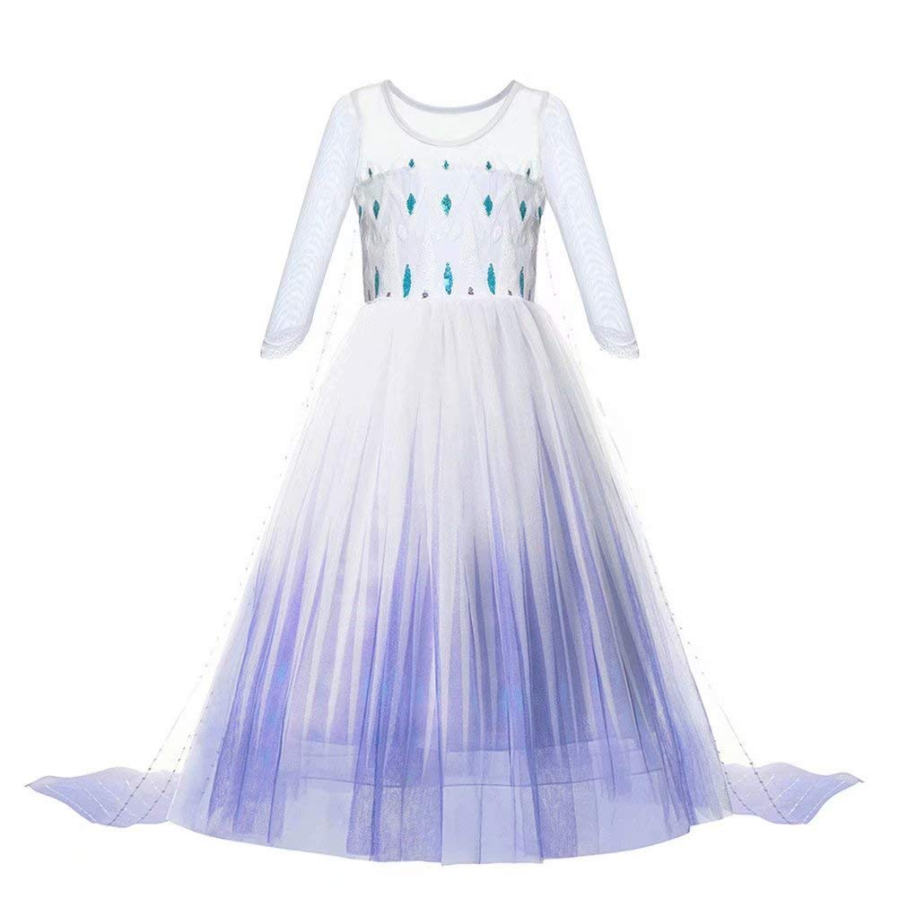 Princess Dress up Costume - Girls Ice 2 Halloween Birthday Party Gown Cosplay Outfit for Little Child Kid Teen