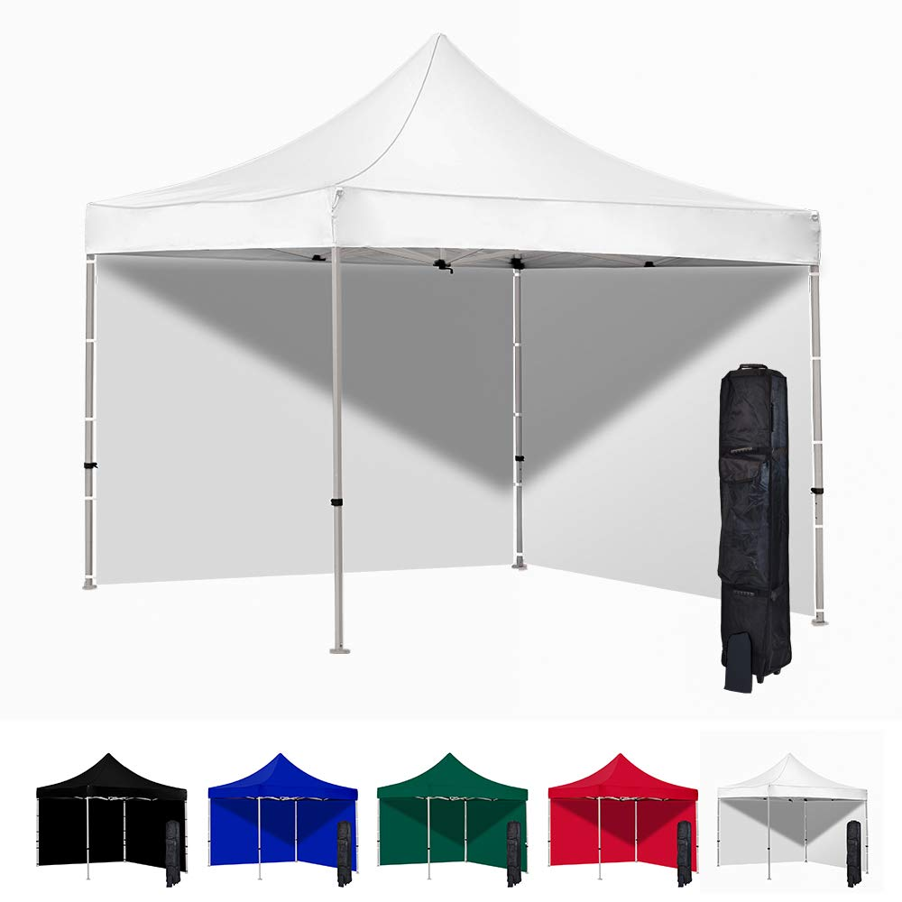 Vispronet 10x10 Pop Up Canopy Tent and 2 Side Walls – Commercial Grade Steel Frame with Water-Resistant Canopy Top and Sidewalls – Wheeled Canopy Bag and Stake Kit Included (White)