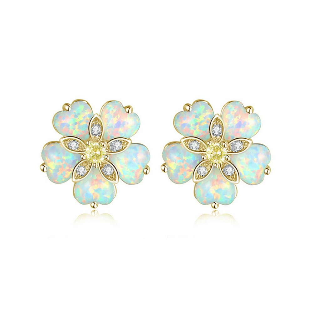 CiNily Flower Opal Earrings Stud,Gold Plated Hypoallergenic Earrings for Women Opal Jewelry Gemstone Stud Earrings 12mm-15mm