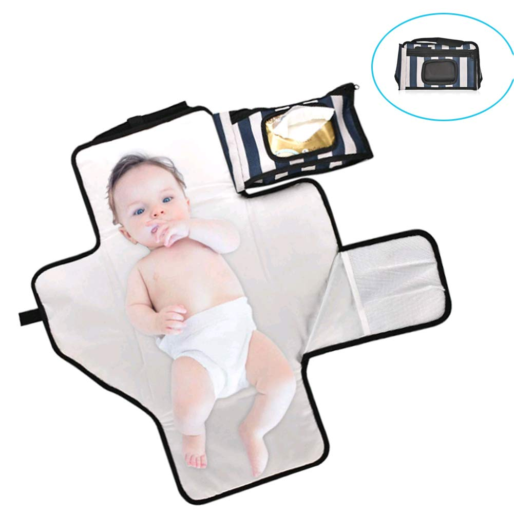Portable Changing Pad Travel Kit - Baby Portable Diaper Changing Pad Built-in Head Cushion Waterproof Baby Travel Changing Station