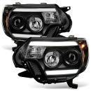 For 12-15 Toyota Tacoma TRD Pickup Truck Black Bazel Dual Led DRL Projector Headlight Lamps