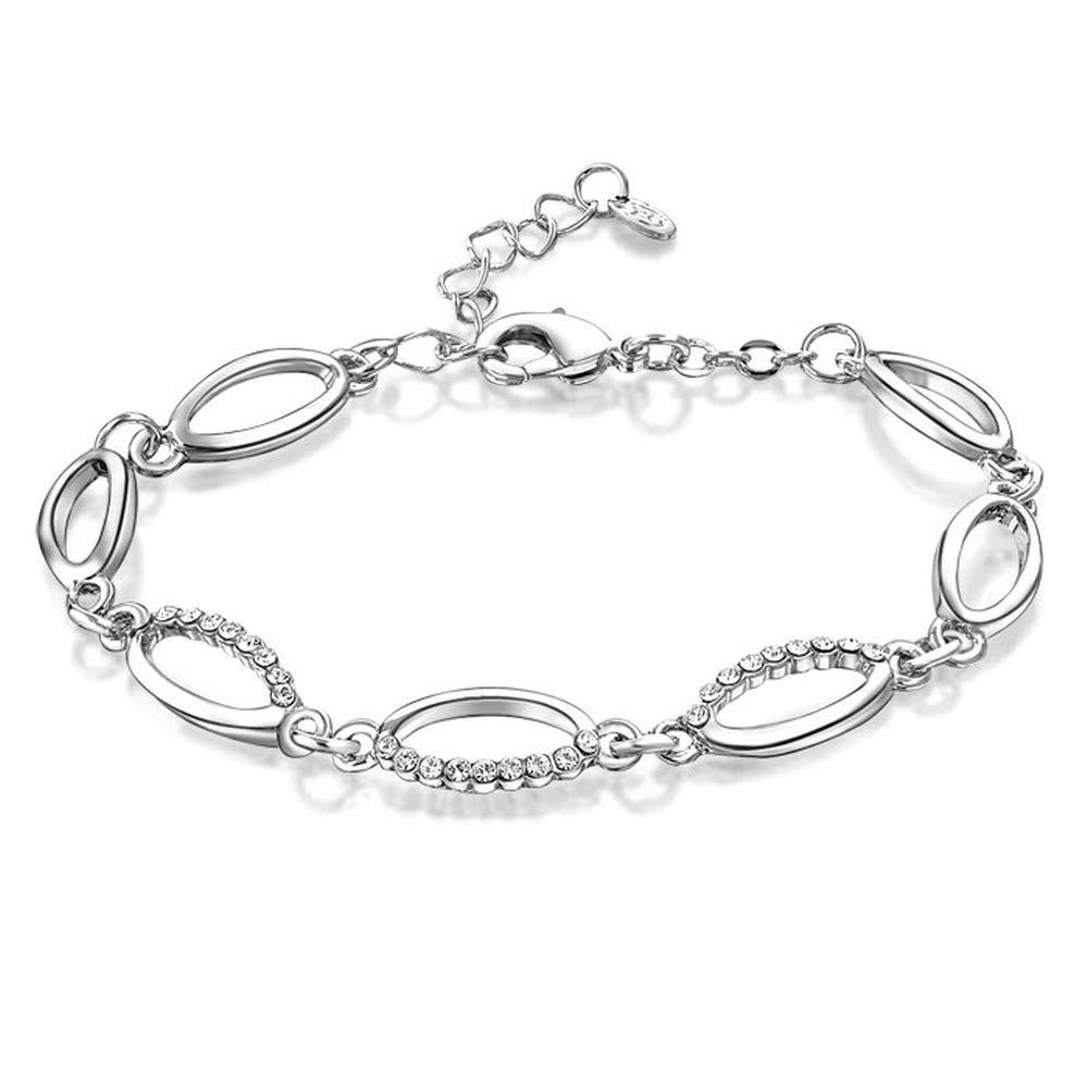 Mytys 18k Rose Gold Color Silver Chain Bracelets for Women Girls Fashion Link Crystal Bracelet