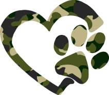 Heart & Paw Print Vinyl Decal - 8 Inches - For Cars, Trucks, Windows, Laptops, Tablets, Outdoor-Grade 2.5mil Thick Vinyl - Camo Print